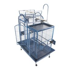 """A&E 42""""x26"""" Split Level House Cage w/ Divider • Ext Dimensions: 42""""x26""""x61 • Inter Height: 53"""" • Bar Spacing: 5/8"""" • Bird proof front door & feeder locks • Play top, 2 ladders and perch • Opening dome top • Use as 2  or 1 cage • Horiz side bars, vert bars front & back • 4 feeder doors & breeder door • 4 ssteal cups • Removable seed catchers • Removable divider • 2 lg front doors • Slide-out grill & tray • 4 rolling casters • Non-toxic, duable safe powder coated finish"""