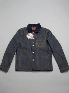 Eat Dust 673B Denim Jacket. Heavy Duty worker denim jacket made in 131/4OZ double ring Japanese indigo blue selvage denim