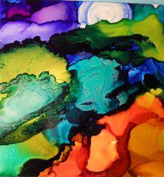 Alcohol Ink Art on Ceramic Tile by Wanda Rose Stewart 2013