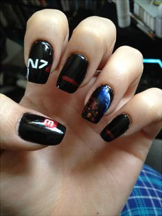 Mass Effect 3 Shepard Nail Art