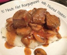 30 Minute Filet Bourguignonne with Mashed Potatoes