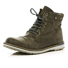 Grey two tone sole lace up worker boots £70.00