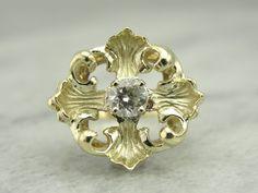 14K Green Gold Maltese Cross Ladies Ring with Fine Diamond Center 72FHHJ-P