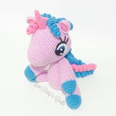 Here she is! A baby unicorn for a little girl whose favourite colours are blue and purple!  #handmade #crochet #unicorn #amigurumi by ems_patty