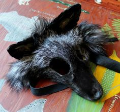 Silver fox taxidermy mask by Lupa. At http://thegreenwolf.etsy.com