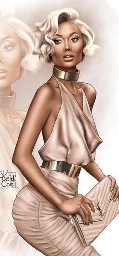 Fashion Illustration Ideas Fashion illustration by Keidi Cole Black Women Art, Black Girl Art, Fashion Art, Fashion Models, Drawing Fashion, Silhouette Mode, Modelos Fashion, Illustration Mode, Fashion Figures