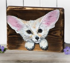 Cute small original fennec fox acrylic painting on salvaged wood. Best gift for fox lover :). One of a kind artwork. Red Barn Painting, Rustic Painting, Painting On Wood, Fennec Fox Baby, Cute Fox, Unique Home Decor, Animal Paintings, Gift For Lover, Pet Birds