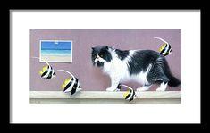 Angel Fish, Black Wood, Clear Acrylic, Surrealism, Original Paintings, Framed Prints, Birds, Cats, Artwork