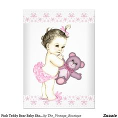 pink teddy bear baby shower 45x625 paper invitation card