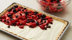 Needs to be adjusted to be low-carb, but could easily work...  Fresh Berry Slab Pie recipe from Pillsbury.com