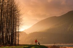 The Golden Moment - Playing with a dog during a magical sunset in the mountains is about as good as it gets in my opinion. :)  Snapped earlier this week at Pitt Lake.