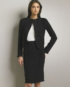 Dolce & Gabbana Pencil Skirt & Jacket Size 12 Retail $1070.00 Sale $650.00. Jewel neckline.Can be worn open, as button/ snaps are covered in fabric.Suit Jacket would be fantastic with any color jeans or dress pant, sandal, ankle or pump. Wear the suit with a gorgeous blouse, add a belt and your off to a date or more formal affair. It would look great with a white or colored tee and Floral Jacket.  Great investment. Use you imagination.  Remember black never goes out of style, a true classic. Color Jeans, Floral Jacket, Dressy Outfits, Going Out, Looks Great, Size 12, Suit Jacket, High Neck Dress, Coats