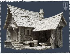 Resin Medieval Blacksmith Forge to be painted Vila Medieval, Medieval Houses, Medieval Town, 3d Fantasy, Fantasy House, Medieval Fantasy, Clay Houses, Miniature Houses, Zbrush