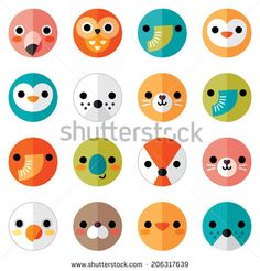 Set of flat animal and bird face icons in bright retro colors for stickers, cards, labels and tags. Isolated on white, minimal style, folded paper design, raster version. - stock photo
