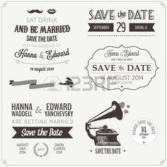 Jeu de invitation de mariage d'époque éléments de design typographique Banque d'images - 17470878