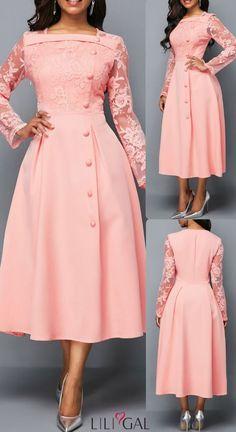 USD27.79 Lace Panel Square Neck Button Detail Dress #liligal #dresses