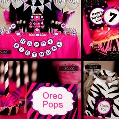 ROCK STAR Party - Girls Birthday Party - Zebra Party - PRINTABLE Standard Party Package