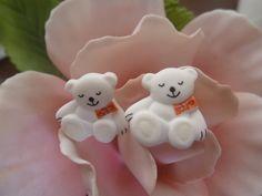 HANDMADE white teddy stud earrings by june22nd on Etsy, $12.99