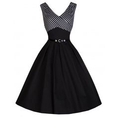 'Valerie' Black Polka Dot Edged Swing Dress ($56) ❤ liked on Polyvore featuring dresses, black, pleated dress, flared skirt, trapeze dresses, pleated swing dress and circle skirt