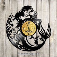 Walt Disney clock Little Mermaid vinyl record clock and sticker