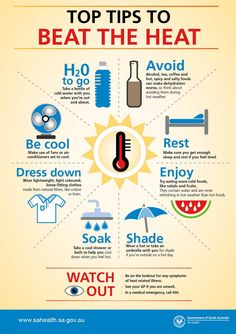 Beat the heat - SA Health Health Facts, Health And Nutrition, Health Tips, Health And Wellness, Health Fitness, Health And Safety Poster, Safety Posters, Safety Slogans, Summer Safety Tips