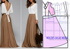 Vestido branco e dourado - Moldes Moda por Medida