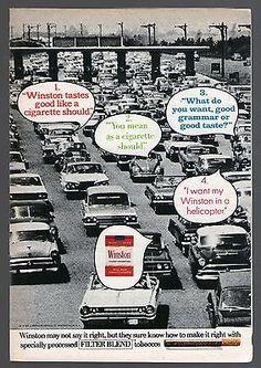 1970-Winston-Cigarette-Ad-Crowded-Freeway-Traffic-Volkswagon-Bug-Ford-Fairlane