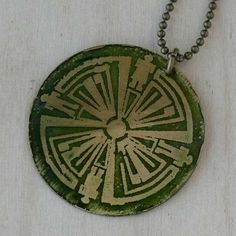 Haven TV show Green Guard brass circle pendant by WanderingJeweler, $30.00