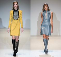 catwalk outfits 2015 colourful mini dresses with boots