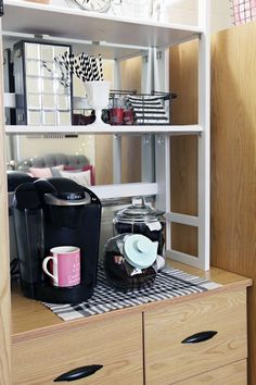 A Coffee Station above your Dorm Dresser - Container Store White Solid Wood Folding Hutch, Keurig, (can make coffee, oatmeal or soup)
