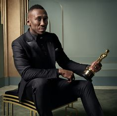 Mahershala Ali with his 2017 Best Supporting Actor Oscar, for 'Moonlight', featured in photographer Mark Selinger's Vanity Fair Oscar Party Portraits.