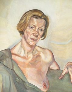 """Lucien Freud """"Woman with a Bare Breast"""", 1970-72.  Art Experience NYC  www.artexperiencenyc.com"""