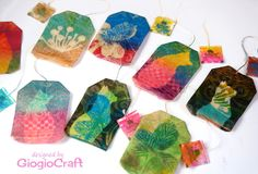Gelli Printing on tea bags