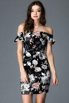 ad582071e607 Sweet Mello Ruffle Off Shoulder Print Dress