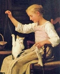 Girl with knitting and cat, by Albert Anker (Swiss, 1836-1910)