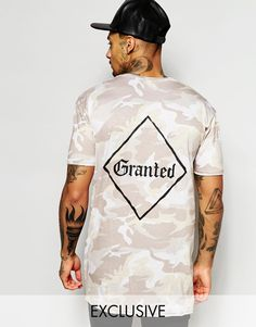 Granted+Longline+Camo+T-Shirt+With+Back+Print