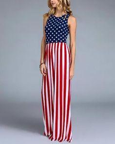 84a2cadb9c2 Sleeveless Fitted USA American Flag Print Maxi Dress - Avenue of Angels