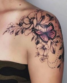 Butterfly Tattoo On Shoulder, Butterfly Tattoos For Women, Cute Tattoos For Women, Shoulder Tattoos For Women, Butterfly Tattoo Designs, Sleeve Tattoos For Women, Tattoo Designs For Women, Shoulder Sleeve Tattoos, Rose And Butterfly Tattoo