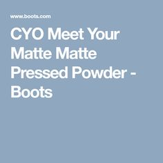 CYO Meet Your Matte Matte Pressed Powder - Boots