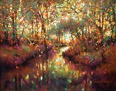 """Shimmering Forest by Teresa Saia Pastel ~ 24"""" x 30"""""""