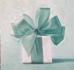 """Daily Paintworks - """"The Teal Ribbon"""" - Original Fine Art for Sale - © Susan Fern"""