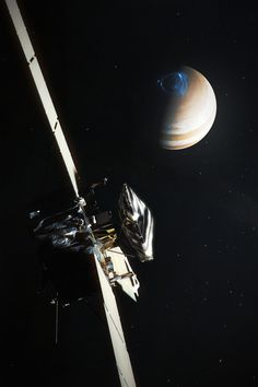 Real spacecraft/space mission As of today, 2nd July, Juno space probe is quickly approaching its destination, largest planet in the Solar System, Jupiter. Juno spacecraft, launched in August 2011 from Cape Canaveral on top of Atlas V rocket. JOI...