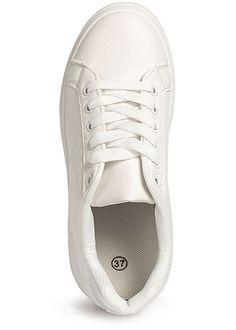 Seventyseven Lifestyle Damen Schuh Kunstleder Plateau Sneaker weiss Brave, Toms, Urban Surface, Madonna Mode, Streetwear Shop, Young Fashion, Superga, Street Wear, Sneakers