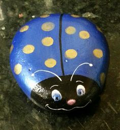 Hand paint Ladybug pet rock paperweight garden home decor river rock Blue Gold Polka dots bug on Etsy, $18.00