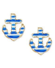 Betsey Johnson Earrings, Anchor Stud Earrings - Fashion Jewelry - Jewelry & Watches - Macy's