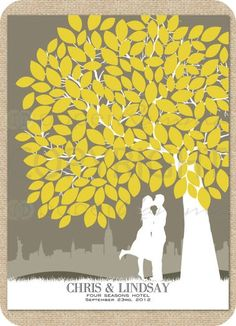 Tree Wedding Guest Book - Etsy:  I love the silhouette of the couple and the bold clean modern shape of the tree. Stays in the yellow and gray theme that I guess I started with the engagement invites. Should be simple to replicate but different tree type...