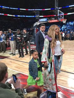 Beyoncé & Blue at the NBA All Star game tonight. February 19, 2017