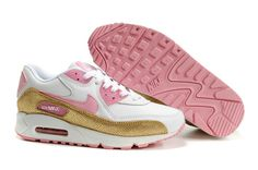 312052 164 Womens Nike Air Max 90 White Perfect Pink Hazelnut AMFW0281