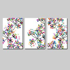 This is a collection of three modern botanical floral art prints that can be hung together in a trio format (shown) or hung separately. Black and white with vivid pops of colorful dots throughout! Choose your size from the drop down menu. If you would like different colors than what is shown
