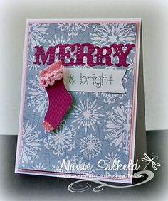 Darling Merry Stocking Card by TE Fan Nance Salkeld! 8-) #Cardmaking, #Christmas, #TE, #ShareJoy